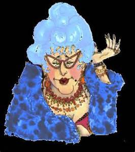OLD LADY WITH BLUE HAIR