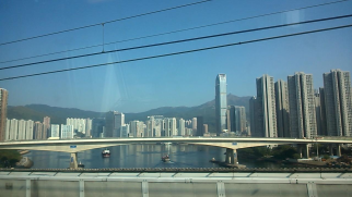 Tsing Yi from the train to the Hong Kong airport